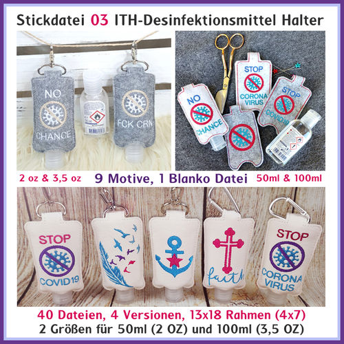 Stickdatei 03 Desinfektionsmittel Halter 13x18 ITH hand sanitize holder in the hoop 5x7