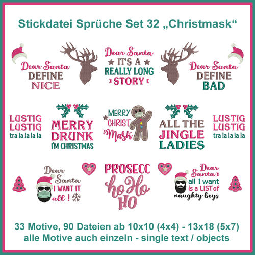 Christmask christmas mask embroidery design Set 32