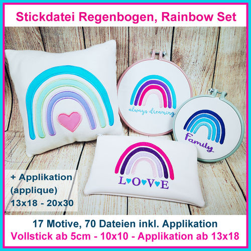 Stickdatei Regenbogen Rainbow Set Puschen Applikationen