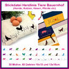 Embroidery file set heart lines animals farm dogs horses cats rabbits