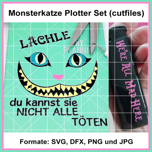 Plotterdatei Monsterkatze Grinsekatze cutting Set cutfiles cat