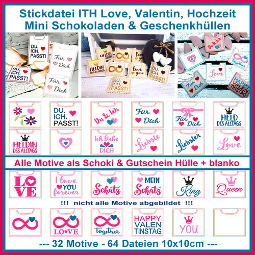 Embroidery file ITH Love Valentine Wedding Mini Chocolate Gift Sleeves