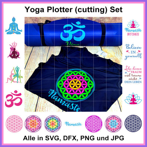 Plotterdatei Yoga Blume des Lebens Flower of life Yogi cutting set