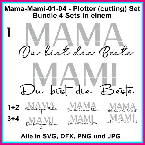 Plotterdatei Mama Mami hab dich lieb Star Anker cutting set