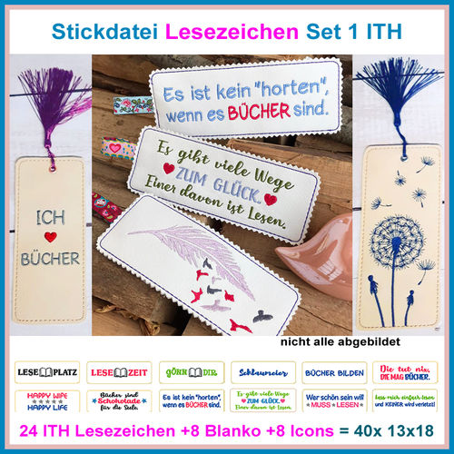 Embroidery file ITH Bookmark book markers Set