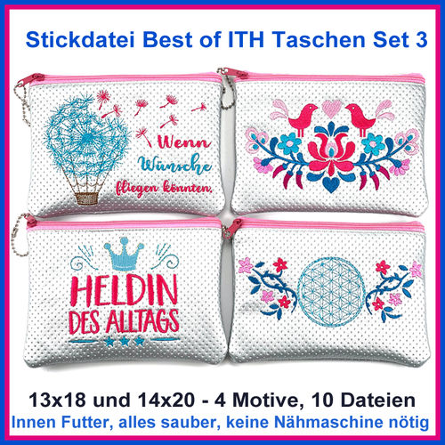 Embroidery file Best of ITH Set 3 Zipper Pockets bag embroidery